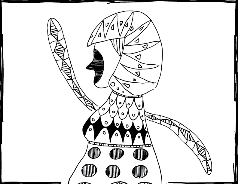 crude mono sketch of a human figure raising her hand, filled with patterns