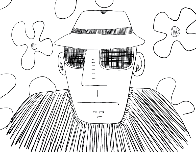 crude mono sketch of Hunter S Thompson if he was a G-man