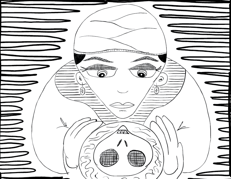 crude mono sketch of a turbaned woman looking calmly into a crystal ball to find a skeletal reflection there