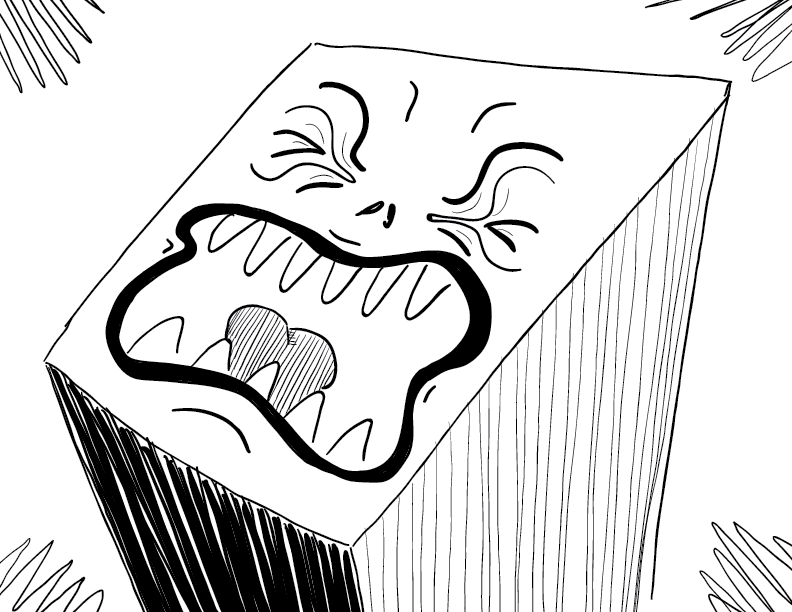 crude mono sketch of a rectangle with a screaming, anguished face
