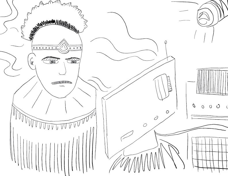 crude mono sketch of a cyberpunk type fellow staring uneasily into a mystical computer monitor