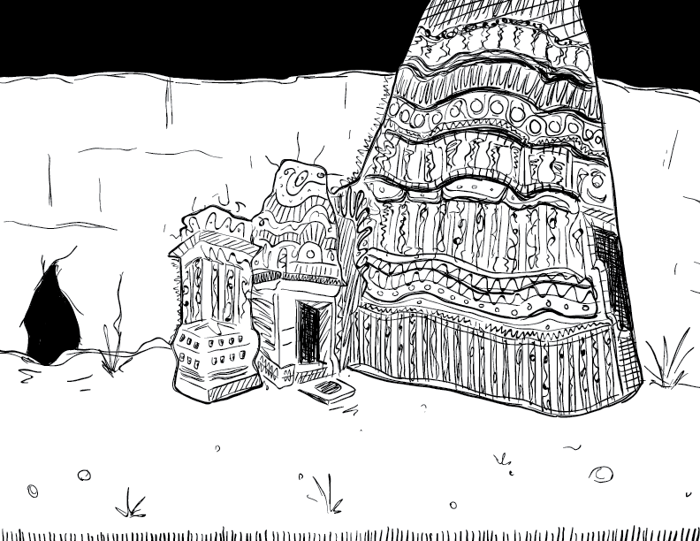 crude mono sketch of a wonky temple exterior against a cavern wall