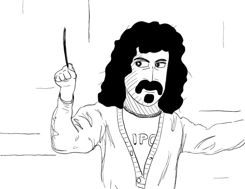 crude mono sketch of Frank Zappa conducting an off-screen orchestra