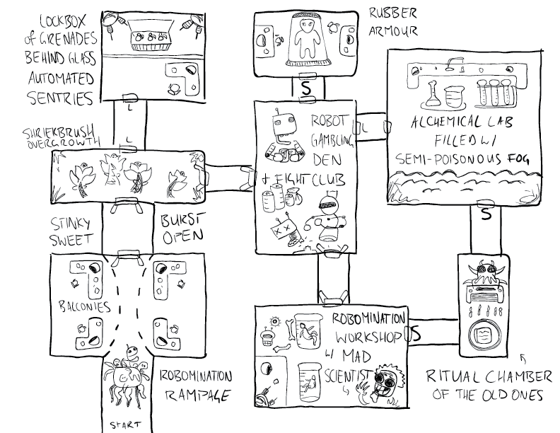 crude mono sketch of a one-page dungeon featuring a robomination, a mad scientist, and a robot fight club
