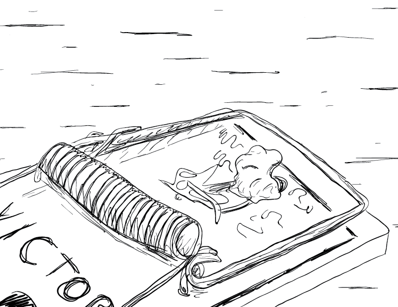 crude mono sketch of a peanut butter-slathered Victor brand mousetrap on the floor