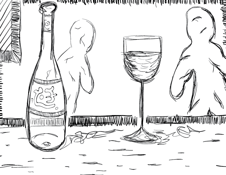 crude mono sketch of a peculiar wine bottle with glass and in the background, two menacing putty-like humanoids loom. real Gumby-looking weirdos