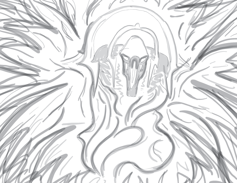 crude greyscale sketch of Entropus, a chaotic deity figure in our ongoing Knaves of the Earth campaign