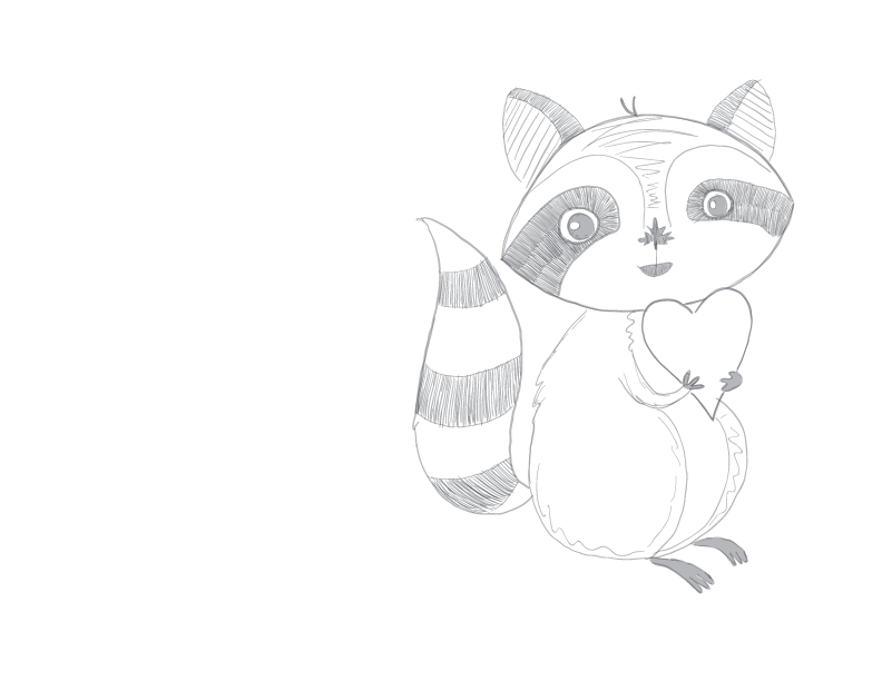 crude greyscale sketch of a stock image cartoon raccoon holding a heart and smiling at the viewer. It has the @torontothewild style nose too