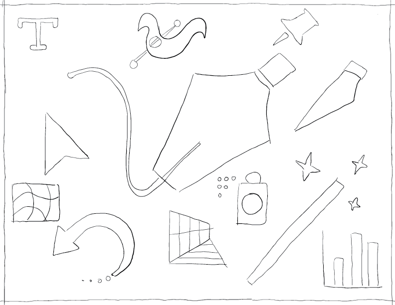 crude mono sketch of a bunch of tools from Adobe Illustrator