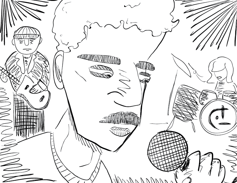 crude mono sketch of a rapper on stage with a drummer and guitarist, with a title drawn from the work of Chris Power?
