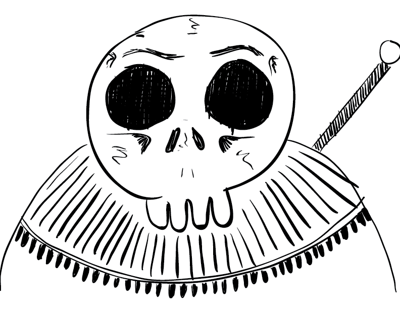 crude mono sketch of a jawless skeletal warrior staring into the viewer