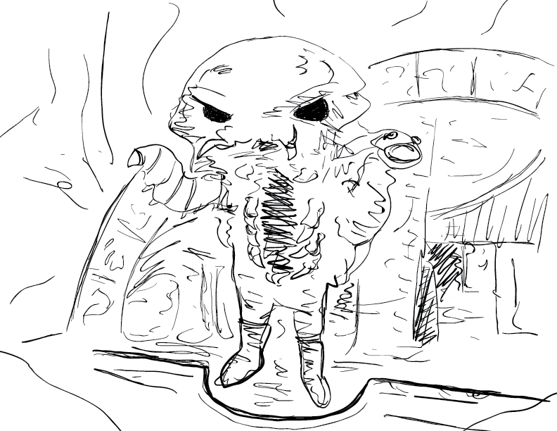 crude mono sketch of an isopod person before a barrow, drawn from a toy on google images