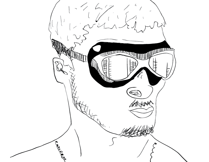 crude mono sketch of a guy wearing thick goggles and a scruffy beard