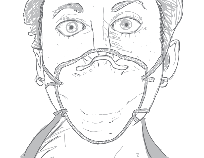 crude greyscale sketch of a woman staring into the camera, wearing a face mask