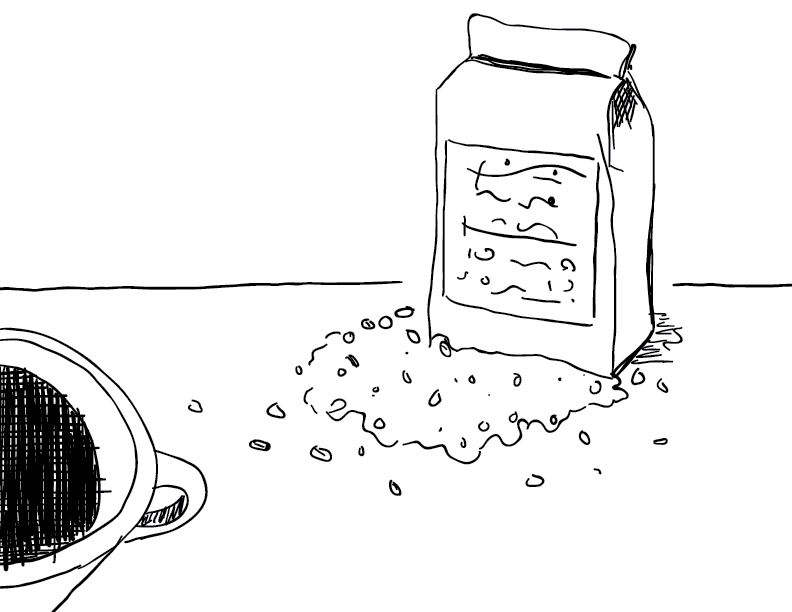 crude mono sketch of coffee beans spilling from a bag, with a cup in the foreground