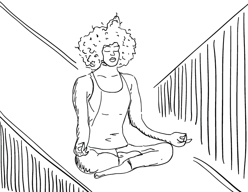 crude mono sketch of a woman meditating