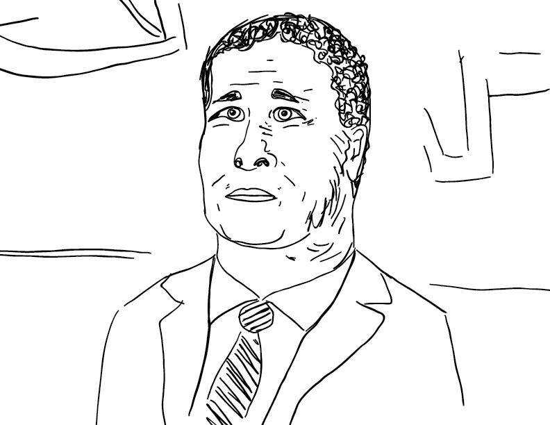 crude mono sketch of JP Morgan Chase CEO Jamie Dimon