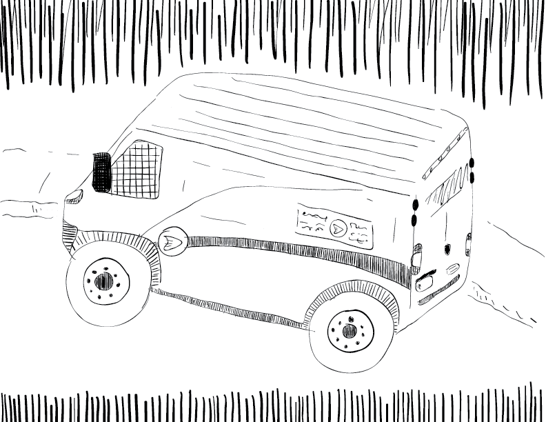 crude mono sketch of a Canada Post delivery van