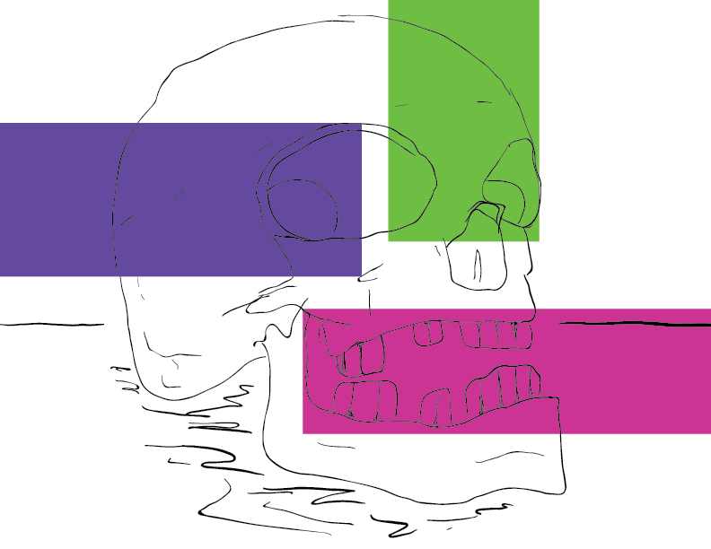 crude colour sketch of a human skull banded with saturated colour