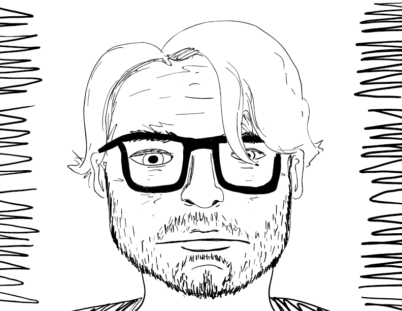 crude mono sketch of the unshaven artist in glasses