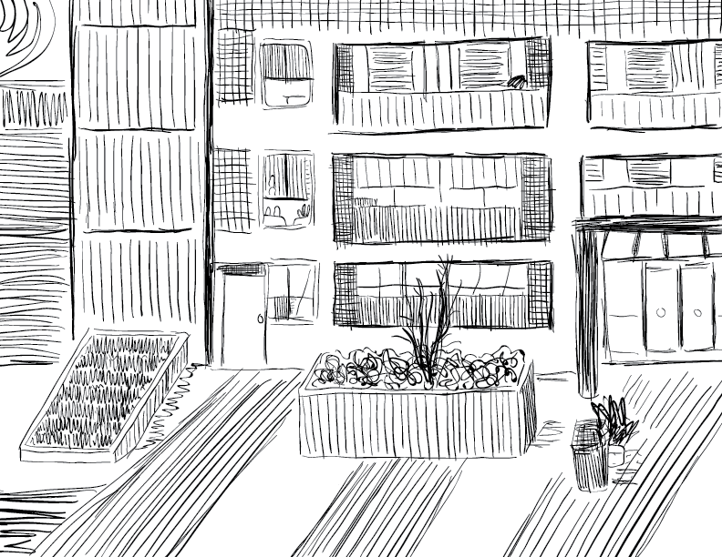 crude mono sketch of the view outside my desk at home
