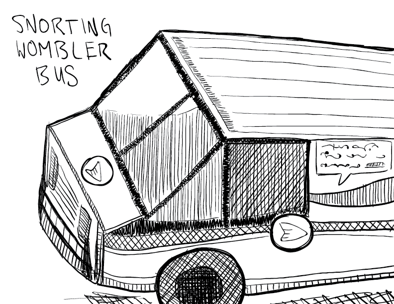 crude mono sketch of a snorting wombler bus; basically a Canada Post delivery van