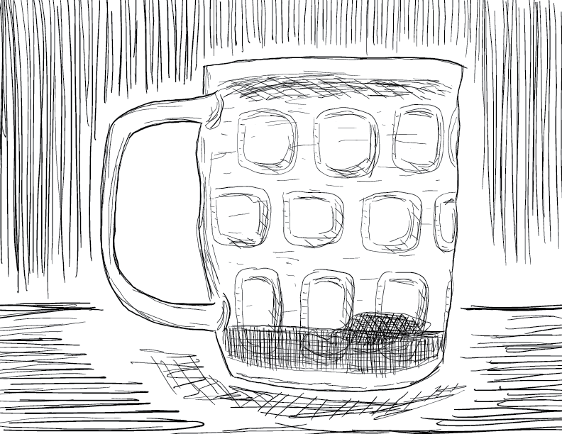 crude mono sketch of my pint glass tea cup, shrivelled tea bag resting in the dregs