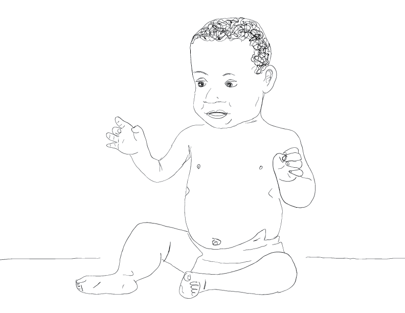 crude mono sketch of a happy baby wearing a diaper
