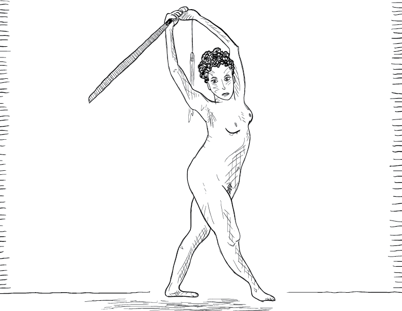 crude mono sketch of a nude woman bearing a sword above her head