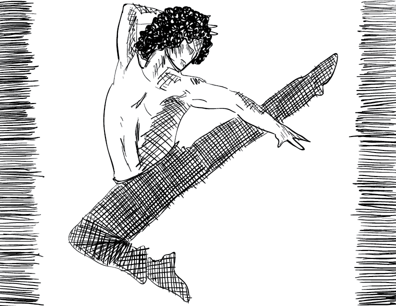 crude mono sketch of a shirtless figure flying through the air with a high kick