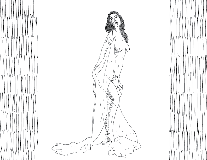 crude mono sketch of a nude woman clad in a diaphanous fabric