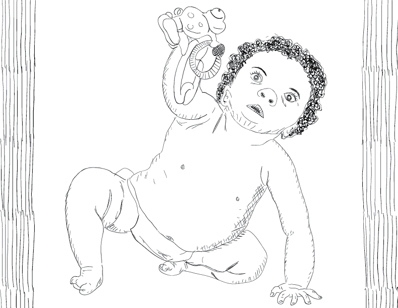 crude mono sketch of a blank-faced toddler playing with a toy