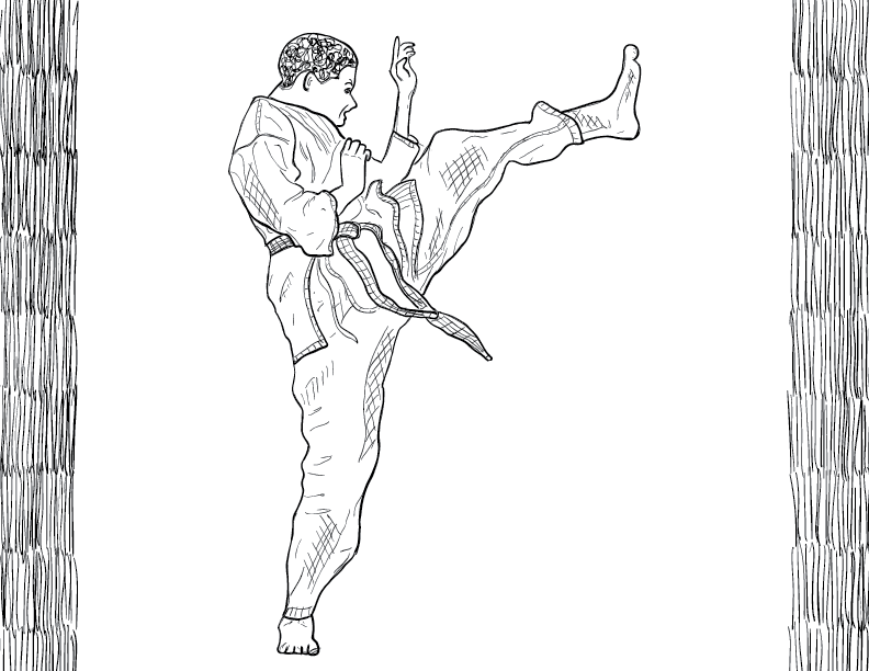 crude mono sketch of a male figure in a gi performing a high kick