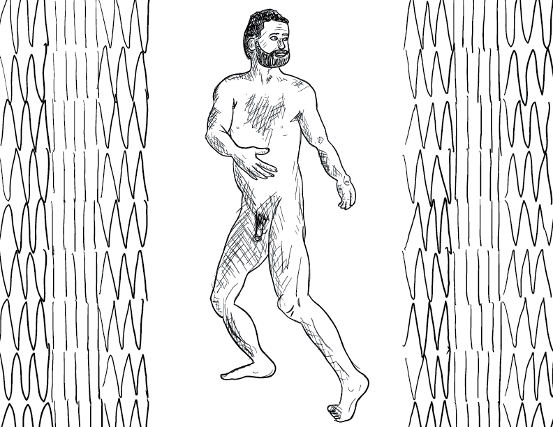 crude mono sketch of a nude male figure in a slightly weird turned pose