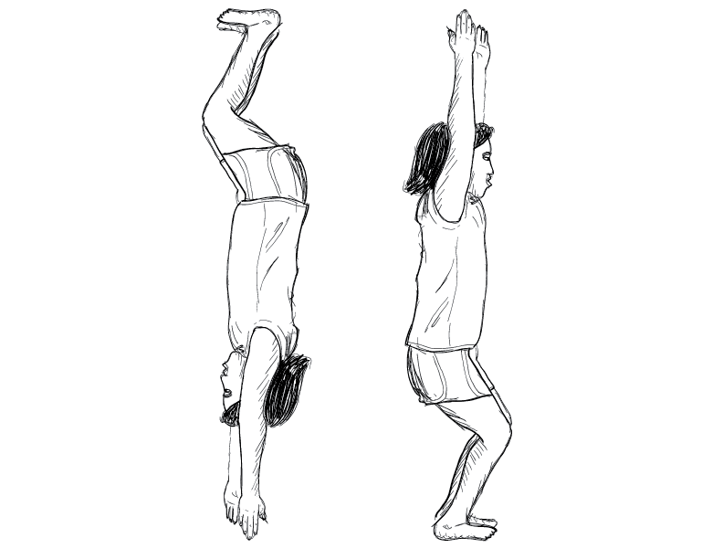 crude mono sketch of a young girl figure getting ready to jump off a diving board, doubled and flipped