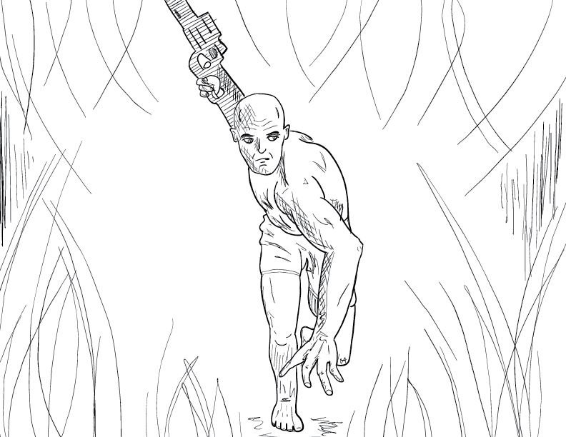crude mono sketch of a male figure wielding a gun making his way through a jungle-esque environment