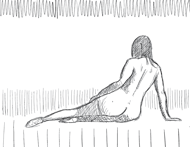 crude mono sketch of a nude woman figure laying on the floor, facing away from us