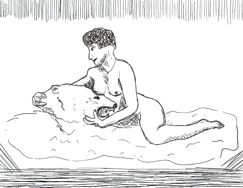 crude mono sketch of a nude woman reclining on a bear skin rug, cradling its angry, empty head