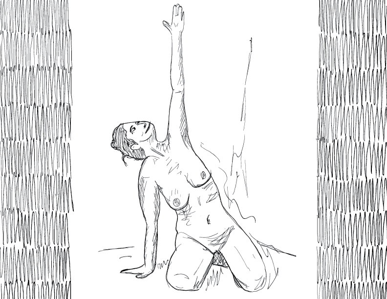 crude mono sketch of a nude female figure reaching for the sky with an outstretched hand