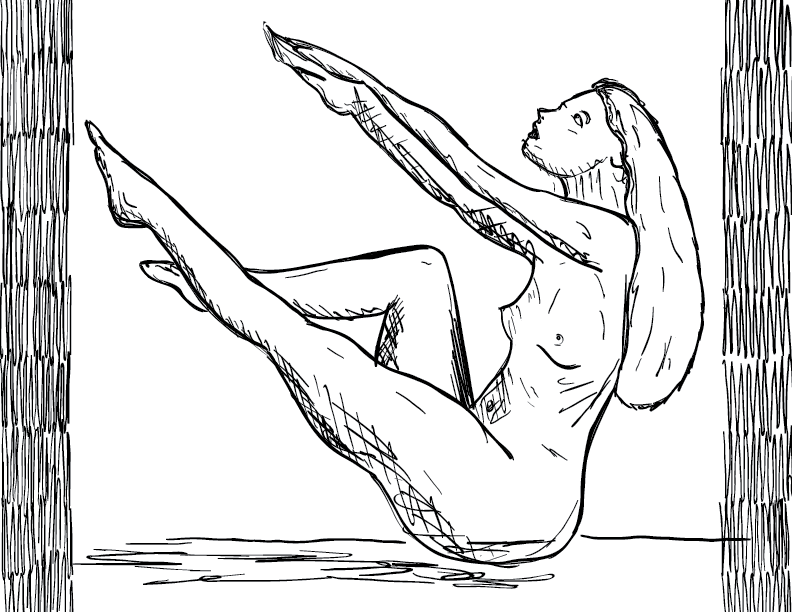 crude mono sketch of a nude female figure sitting up in a pose for artists