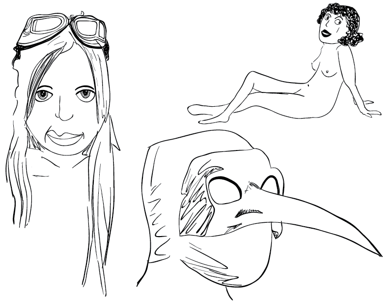 crude mono sketch of three heads and one body
