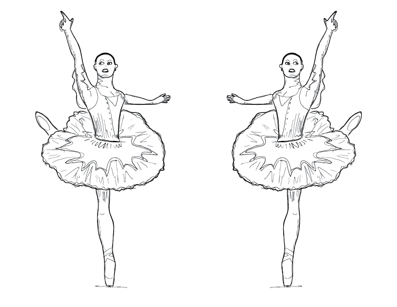crude mono sketch of a ballerina on her toe, doubled