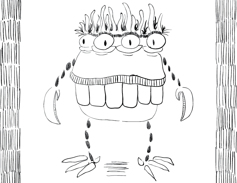 crude mono sketch of a fat multi-eyed creature with buck teeth