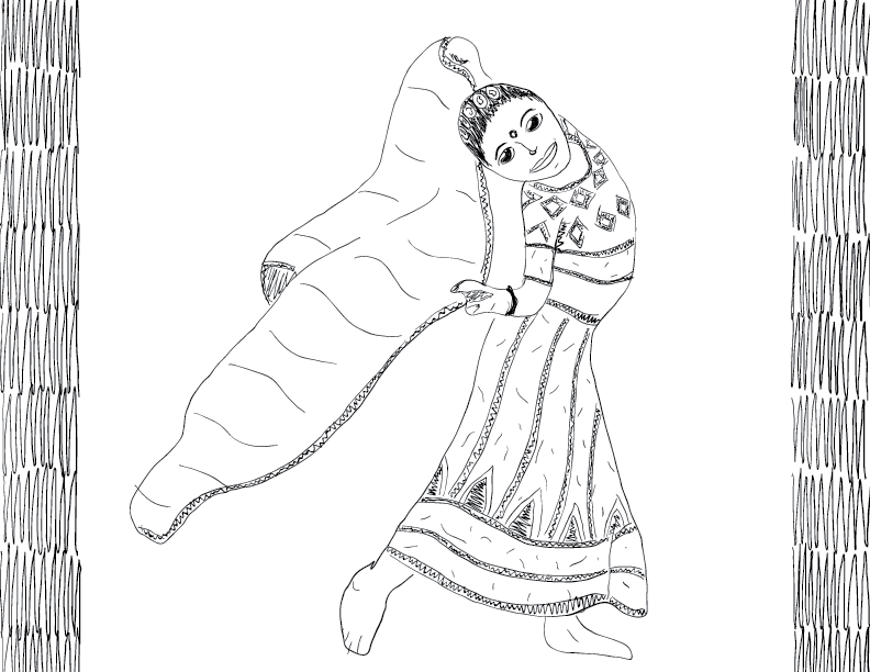crude mono sketch of a girl doing a fancy dance with a cloth