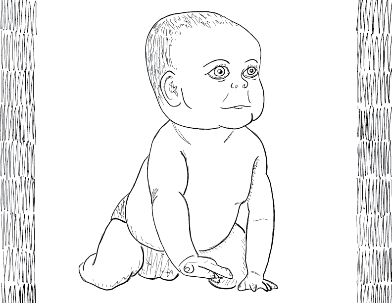 crude mono sketch of a braindead baby