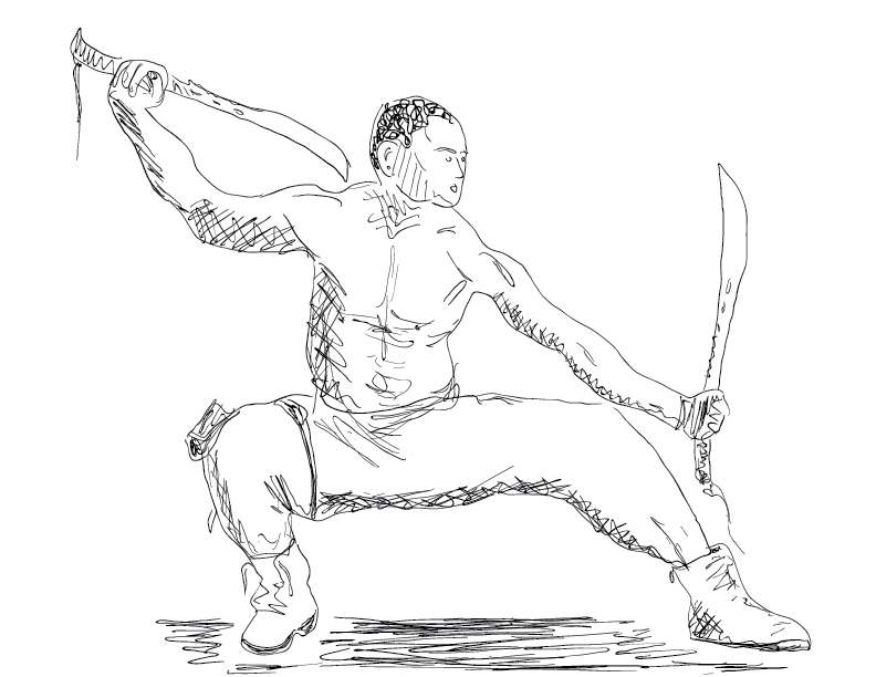 crude mono sketch of a crouched fellow holding two swords