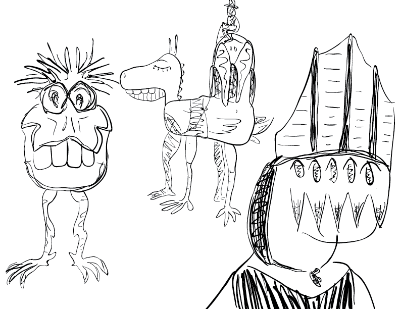 crude mono sketch of a buck toothed biped, a placid quadruped, and a bashful insectoid pope