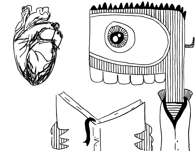 crude mono sketch of a wide-eyed creature reading a book about the human heart