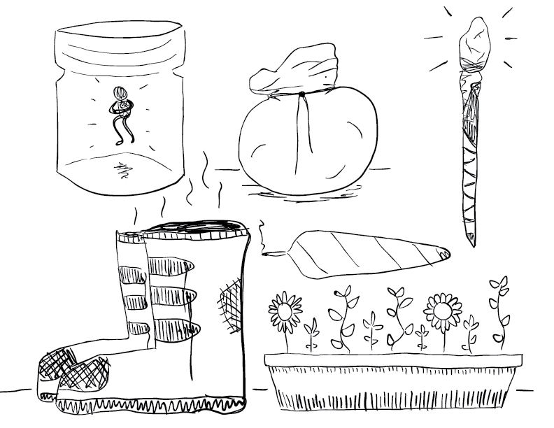 crude mono sketch of several objects, including a pair of boots, a planter, and a jar with a tiny figure inside