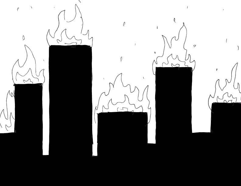 crude mono sketch of a burning cityscape